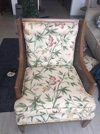 Vintage floral chair with stepstool