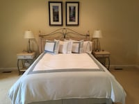white wooden bed frame with white bed sheet ARLINGTON