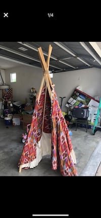 BOHO handmade teepee! Handmade beautiful teepee!  Great for kids and the back yard. One of the legs is slightly uneven but can be an easy fix.   Signal Hill, 90755