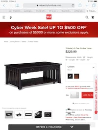Multi-use table from Value city Furniture