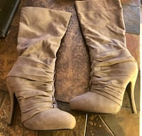 Pair of gray suede high-heeled wide-calf boots Orlando, 32837