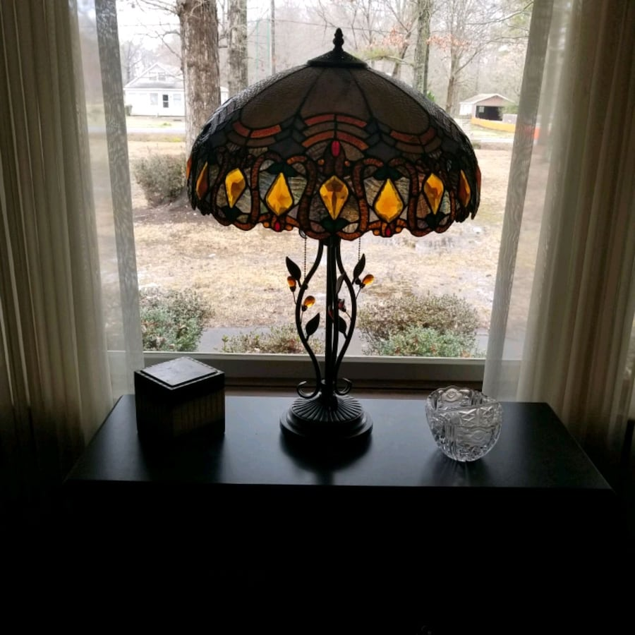 black and yellow floral table lamp