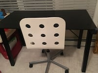 glass office table $35 $20 white ikea chair.