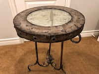 Crackle glass and iron table  Westlake Village
