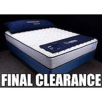 blue and white mattress with text overlay Falls Church, 22041