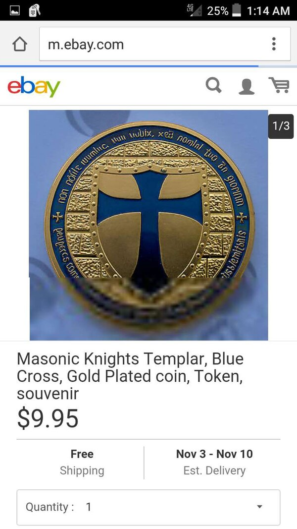 Used masonic knights templar blue cross gold plated coin for