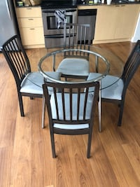 Glass table and chairs set