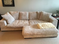 Brown fabric two seat sofa with throw pillows Vancouver, V6B 0B1