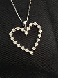Valentine's Day or April birthstone 925 (20) diamond heart necklace Glen Burnie, 21061