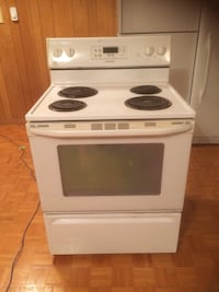white and black electric coil range oven Montréal, H8N