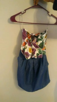 women's blue and red floral spaghetti strap dress.