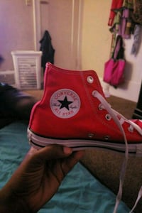 red and white Converse All Star high-top sneaker