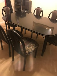 rectangular black wooden table with four chairs dining set 2349 mi