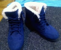 blue suede lace-up snow booties Montreal