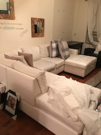 Used White Leather Sofa Set With Throw Pillows For Sale In New York