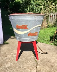 Coca Cola galvanized cooler bucket with drain hose. Can be used as rustic planter/plant stand also Berea, 44017