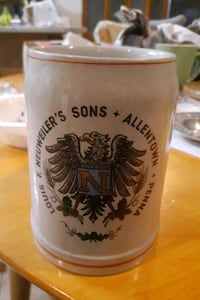 LOUIS F. NEUWEILER'S SONS ALLENTOWN PENNA SINGLE STRIPE STEIN MUG WEST Lehigh County, 18052