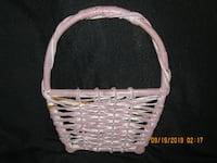 "12"" H x 10"" W * Dusty Rose Wicker Basket Wall/Door Hanging Hamilton"