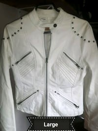 white zip-up jacket.