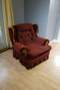 brown wooden framed red padded armchair Agassiz, V0M 1A1