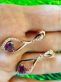 Rose gold  earrings with Amethyst gemstone  hearts  / New earring very pretty delicate jewelry Alexandria, 22311