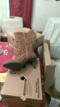 brown and black leopard print chunky heel boot wit