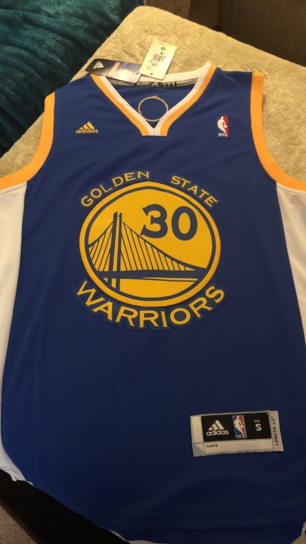 buy online c0503 9f84b blue and white number 30 Golden State Warriors Stephen Curry Adidas jersey
