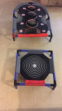 two black, blue, and red indoor trampoline and playing pad 34 mi