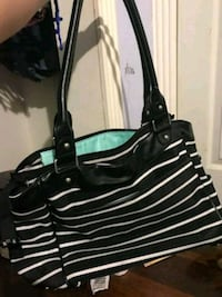 black and white leather tote bag Garland, 75042