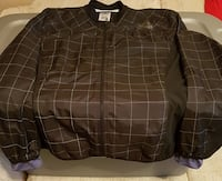 Womens black and white checked print zip-up jacket