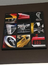 Yellow and red ford mustang cobra shelby painting collage