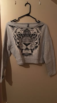 Heather gray tiger face print sweater SIZE M-L