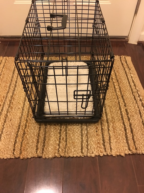 Dog Crate with Plush Insert  & Potty Pad Holder