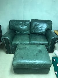 Real leather loveseat and ottoman