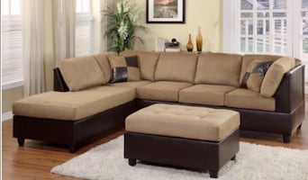 Sectional plus free ottoman:: Financing Available.