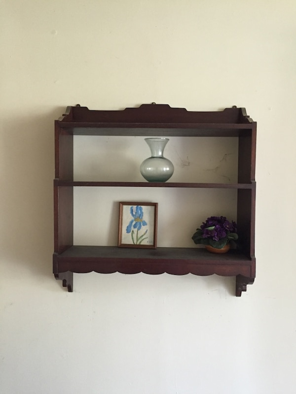 brown wooden 2-layer shelf