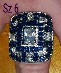 Sterling silver ring w/ sapphires & cz  diamonds