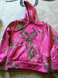 pink and green zip-up hoodie