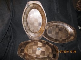 $15 EACH ** LIKE NEW *** RARE Find * 3 VINTAGE MCM Weavewood Walnut Wooden Steak Platters