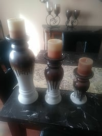three brown-and-white wooden candle holders Fall River, 02720