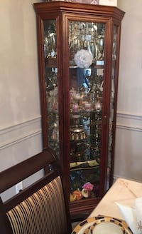 Corner Section-Brown Wooden display Cabinet