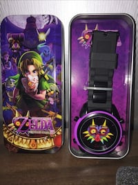 black and purple The Legend of Zelda Majora's Mask analog watch with case