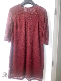 Dark red floral scoop neck long sleeve dress London, N6C