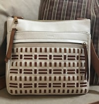Fossil taupe and camel leather crossbody bag 1186 mi