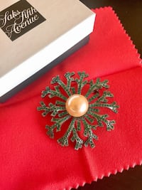 Brand New Pearl Coated Real Crystal Brooch (Originally $195)