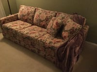 brown and red floral 3-seat sleep sofa LEESBURG