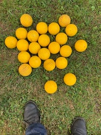"Dimpled Yellow 12"" Inch Practice Softballs (used)"