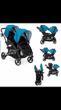 Baby's black and blue double stroller Coquitlam, V3B 4T6