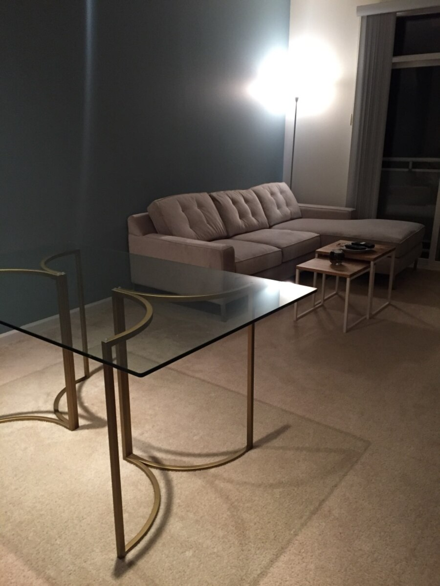 Used West Elm Glass Dining Table with Metal Base in Evanston