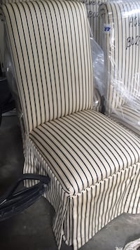 White and black stripe padded chair 4  Brock, L0K 1A0